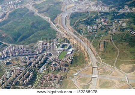 Aerial view of the western suburbs of Istanbul and the Başakşehir Fatih Terim Stadium home to the Super League team İstanbul Başakşehir F.K.