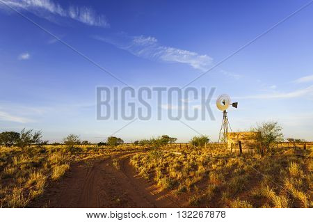 A windmill in late afternoon sun in the West Australian outback.