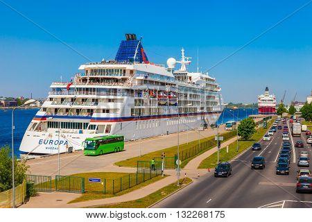 Riga, Latvia - 24-may-2016: Modern Cruise Liner Ship