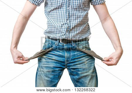 Man - Debtor Is Showing Empty Pockets Of His Jeans Ans Symbol Of