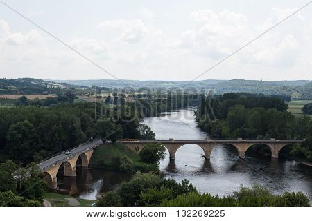 Bridges span the waters of France's Dordogne River