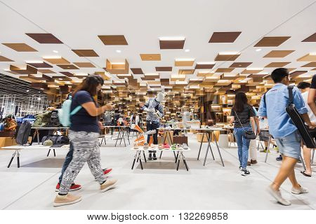 Bangkok Thailand - May 29 2016: People was walking around new shopping mall in Bangkok called 'Siam Discovery' which decorated floor and ceiling in modern style.
