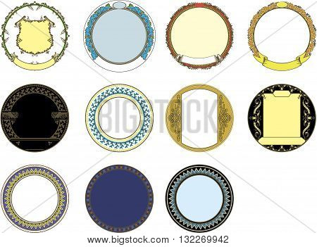 round frame with a variety of images and design