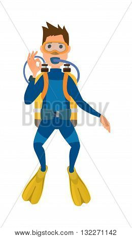 Scuba diver with diving mask, wetsuit and flippers isolated on white background. Diver isolated vector and diver isolated character. Diver isolated people extreme underwater snorkeling.