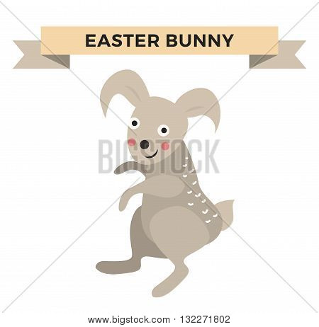 Easter bunny cute vector style. Cartoon easter rabbit isolated on background. Vector bunny illustration. Funny rabbit, cute bunny animal. Vector rabbit modern flat hand drawn style