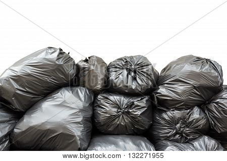 pile of black garbage bags isolated on white background