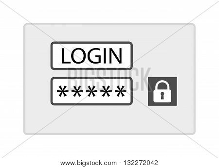 Account login screen vector illustration. Web window screen isolated on white background. Password account screen protection vector icon illustration. Account screen flat style silhouette