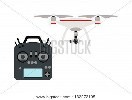 Drone quadrocopters icons and emblems isolated on white. Vector illustration drone helicopter toy packing design. Flight controlled security quadrocopters drone helicopter toy.