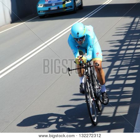APELDOORN, NETHERLANDS-MAY 6 2016: Davide Malacarne of pro cycling team Astana during the Giro d'Italia prologue time trial.