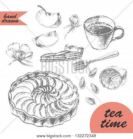 Hand drawn pencil sketch of tea and dessert. Apple tart tea cup lemon fork cake cut almond flowers and apple slice.