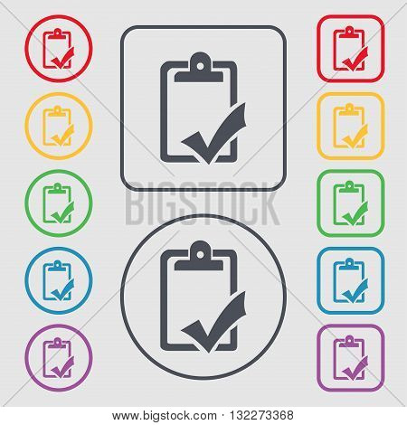 Document Grammar Control, Test, Work Complete Icon Sign. Symbol On The Round And Square Buttons With