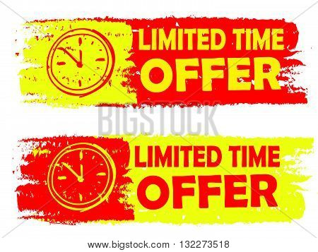 limited time offer with clock signs banners - text in yellow and red drawn labels with symbols, business commerce shopping concept, vector