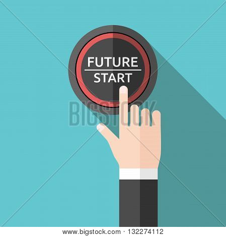 Hand Pushing Future Button
