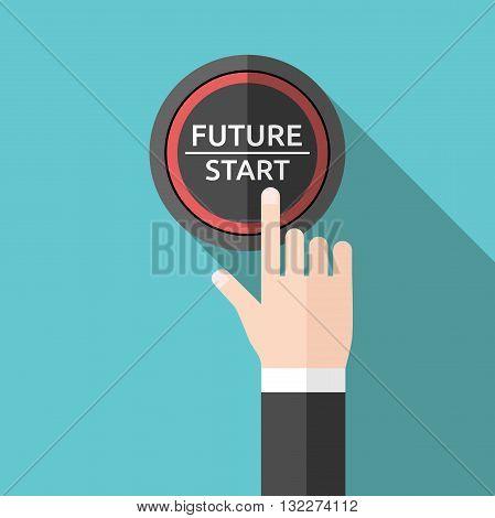 Hand Pushing Future Button
