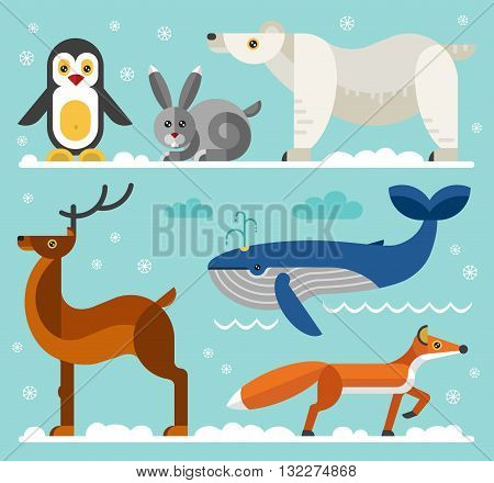 Geometric flat style north and arctic animals: penguin, hare, polar white bear, fox, deer, whale. Flat vector illustration set.