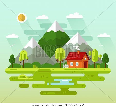 Flat design vector nature summer landscape illustration with house, fence, sun, mountains, pond, clouds, trees.