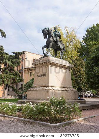 Verona, Italy, 26 September 2015: Monument to Giuseppe Garibaldi in Verona Italy