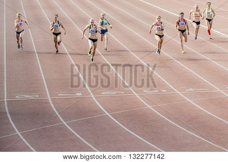 Chelyabinsk Russia - May 24 2016: finish the final sprint of race at 100 meters women during UrFO Championship in athletics