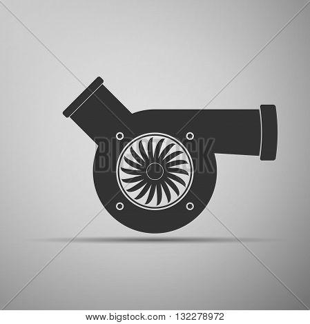 Automotive turbocharger icon on gray background. Vector Illustration