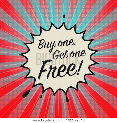 Comic explosion with text Buy One Get One Free, vector illustration