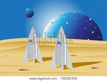 space. Two space rockets in the desert and blue planets