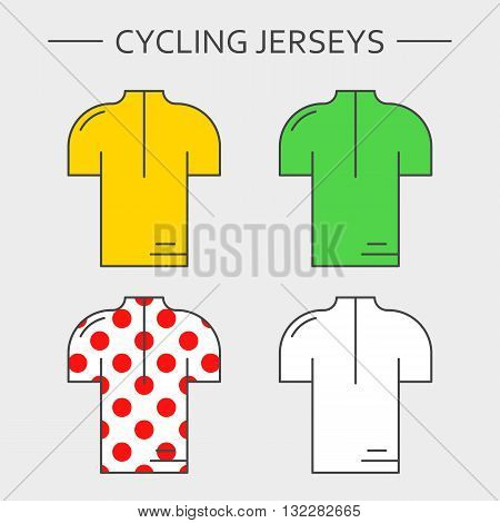 Types of cycling jerseys. Four linear simple icons of main jerseys of cycling championship. Yellow, green, white and red polka dot pullovers isolated on light grey background.