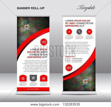 Red and Blue Roll up banner stand template stand design banner template red banner advertisement flyer design Poster layout template