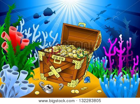 huge treasure chest on the bottom of the sea vector