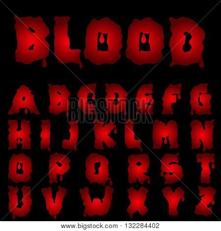 Red blood alphabet. Bloody font, Vector illustration
