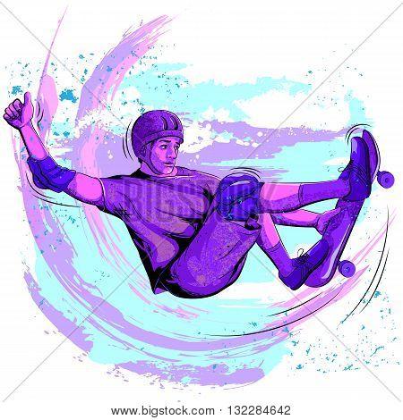 Concept of sportsman doing skateboard stunt. Vector illustration