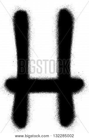 sprayed H font graffiti in black over white
