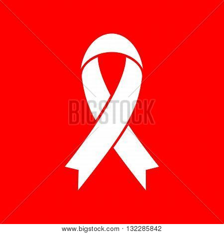 Blank awareness ribbon sign. White icon on red background.
