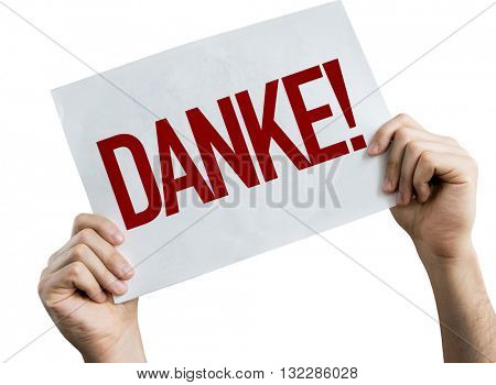Thank You (in German) placard isolated on white background