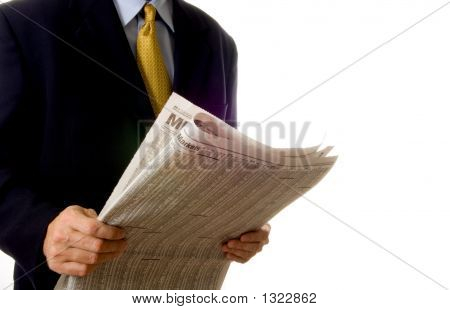 Business Man Reading Paper