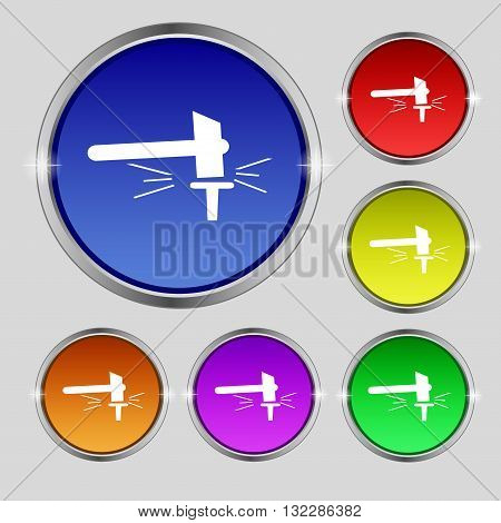 The Smithy. Forge And Stithy, Blacksmith Icon Sign. Round Symbol On Bright Colourful Buttons. Vector
