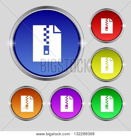 Computer Zip Folder, Archive Icon Sign. Round Symbol On Bright Colourful Buttons. Vector
