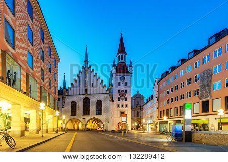 Night panorama of Marienplatz Munich City Germany.