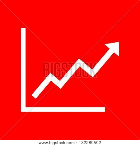 Growing bars graphic sign. White icon on red background.