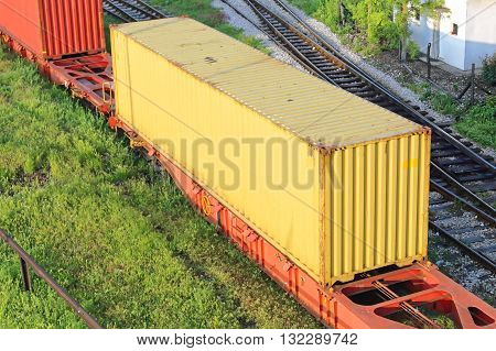 Yellow Intermodal Container at Cargo Train Transport