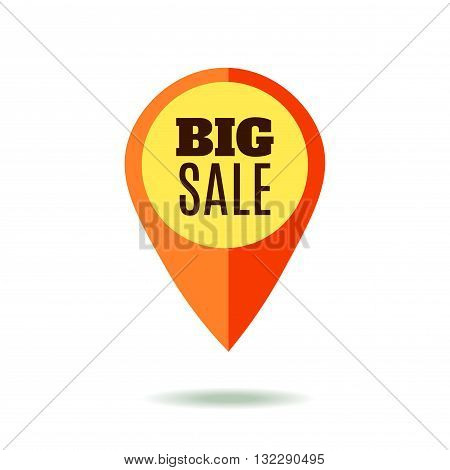 Mapping pointer with Sale Sign. Big Sale. Red Color. Isolated on White