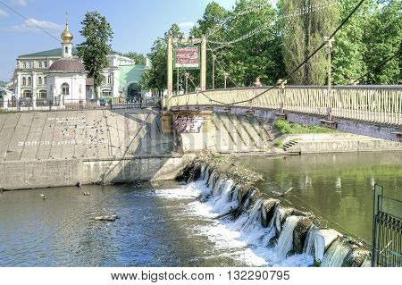 ORYOL RUSSIA - May 15.2012: View of the Cathedral of the Epiphany and Orlik river in historical part of city