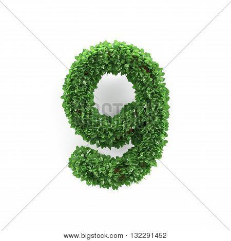 Green Leaves 9 Nine Ecology Digits Alphabet Font