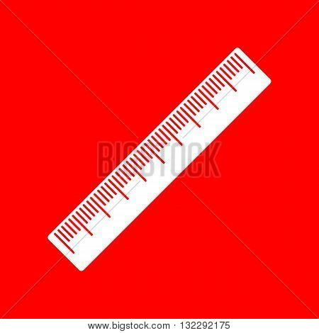 Centimeter ruler sign. White icon on red background.
