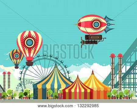 vector illustration carnival circus tent on the nature seating area amusement park