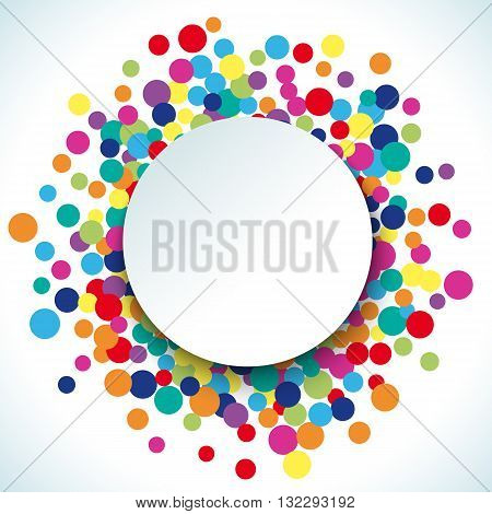 Colorful abstract dot background. Vector illustration for bright design. Circle art round backdrop. Modern pattern decoration. Color texture holiday element wallpaper. Decor fun spot card. Happy mood.