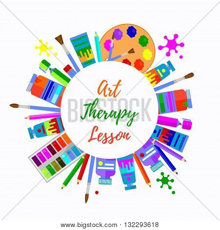 Art therapy round circle border. Colorful text frame with different art tools for painting.