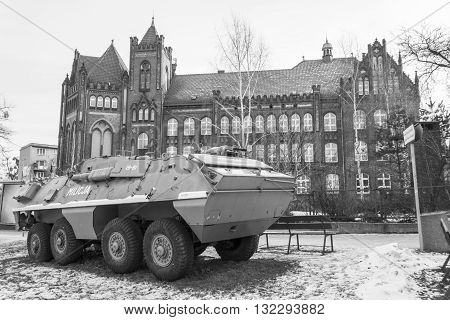 GDANSK, POLAND - JANUARY 30: Armored vehicle on the street on January 30, 2011 in Gdansk.