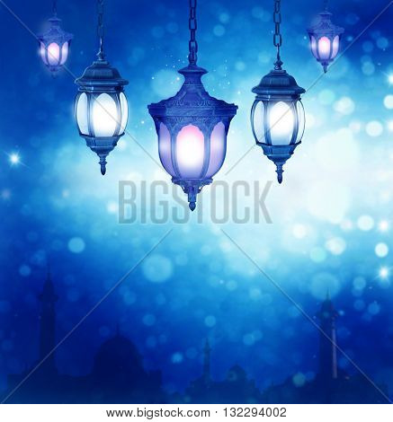 Ramadan Kareem background with arabic lantern