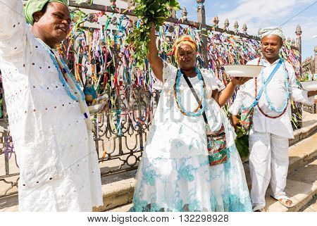 Brazilian group wearing traditional clothes at Bonfim Church in Salvador, Bahia, Brazil
