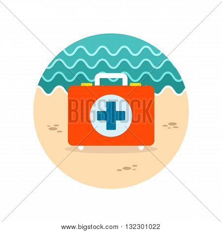 First aid kit vector icon. Beach. Summer. Summertime. Vacation eps 10